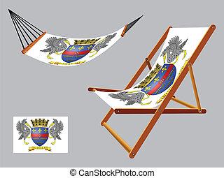 セット, デッキ, ハンモック, barthelemy, 聖者, 椅子