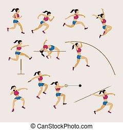セット, トラック, スポーツフィールド, 運動選手, 女性