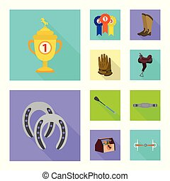 セット, トラック, 競争, シンボル, web., イラスト, ベクトル, 乗馬, logo., 株