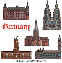 セット, ドイツ語, 旅行, 建築である, ランドマーク, アイコン