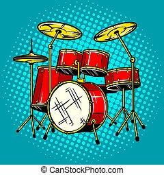 セット, ドラム, イラスト, 道具, ベクトル, ミュージカル
