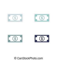 セット, ドル, ペーパー, 背景, 白, ステッカー