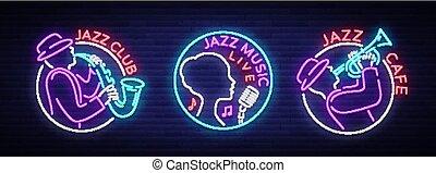 セット, ネオン 印, 明るい, 明るい, パーティー。, style., レストラン, シンボル, 旗, 音楽, カフェ, 印。, ジャズクラブ, コレクション, イラスト, バー, ロゴ, ライト, 紋章, ベクトル, 広告