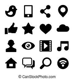 セット, ネットワーク, アイコン, コミュニケーション, web., ベクトル, 社会