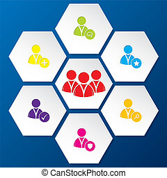 セット, ネットワーク, 形, 社会, 六角形, アイコン
