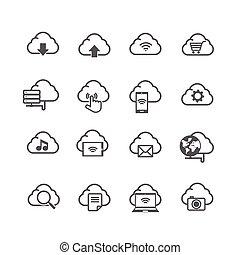 セット, ネットワーク, 隔離された, 接続, コンピュータ, 背景, 社会, 白い雲, アイコン