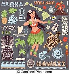 セット, ハワイ, アイコン, シンボル, ベクトル, レトロ