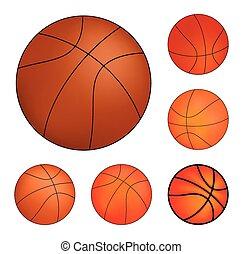 セット, バスケットボール, ベクトル, 隔離された