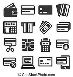 セット, バックグラウンド。, アイコン, クレジット, ベクトル, 白, カード