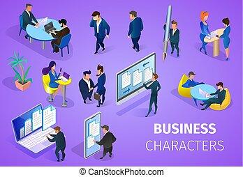 セット, バックグラウンド。, 紫色, ビジネス 特性
