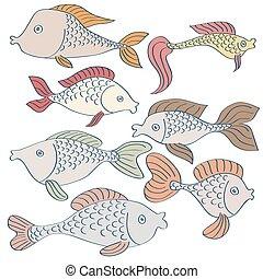 セット, バックグラウンド。, hand-drawn, 魚, 白, 漫画