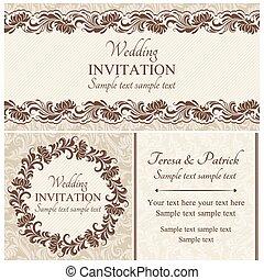 セット, バロック式, 結婚式, ベージュ, 招待