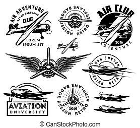 セット, パターン, バッジ, デザイン, レトロ, 飛行機, 要素