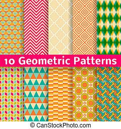 セット, パターン, seamless, バックグラウンド。, ベクトル, (tiling)., 幾何学的