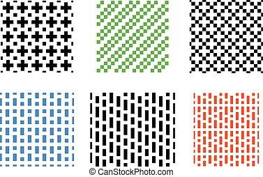 セット, パターン, seamless, ベクトル, 白, ピクセル