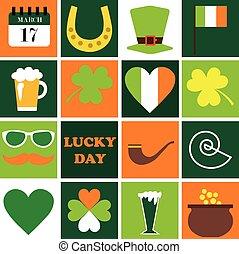 セット, パトリック, st. 。, icons., ホリデー, day., 幸せ