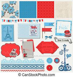 セット, パリ, 型, -, ベクトル, デザイン, スクラップブック, 要素
