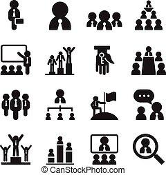 セット, ビジネス, &, アイコン, イラスト, ベクトル, チームワーク, 管理