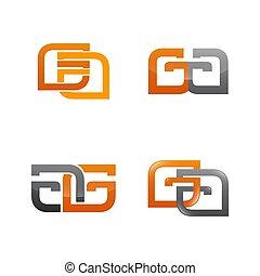 セット, ビジネス アイコン, シンボル, 現代, コレクション, デザイン, ロゴ, 構成, 概要,...