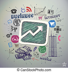 セット, ビジネス アイコン, ステッカー, 手, 図, グラフィック, 引かれる