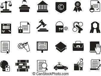 セット, ビジネス アイコン, 法的, 規則, protection., モノクローム, 法律, style.