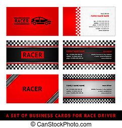 セット, ビジネス, -, レース, カード, 赤, 最初に