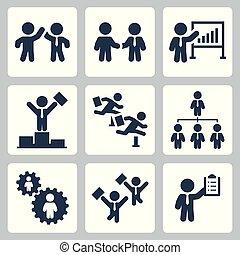 セット, ビジネス 人々, 協力, 競争, ベクトル, アイコン