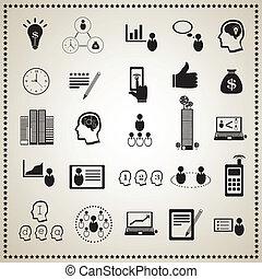 セット, ビジネス, 人間, :, 資源, アイコン
