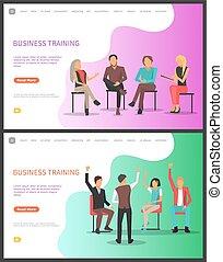 セット, ビジネス, 労働者, 訓練, ミーティング, セミナー