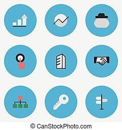 セット, ビジネス, 単純である, 合意, イラスト, 図, architecture., synonyms, ベクトル, 感動的である, icons., 要素, 他, 構造, 指