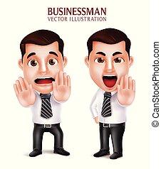 セット, ビジネス, 怒る, 特徴, 3d, 現実的, 恐れている, 専門家, 人, 姿勢