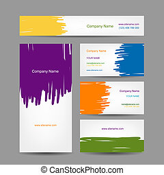 セット, ビジネス, 抽象的, 創造的, デザイン, カード