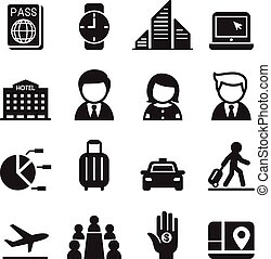 セット, ビジネス, 旅行, ミーティング, 旅行, セミナー, アイコン
