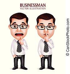 セット, ビジネス, 特徴, 現実的, 専門家, 3d, 人