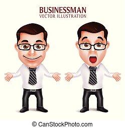セット, ビジネス, 特徴, 3d, 衝撃を与えられた, 現実的, 専門家, 人, 驚かされる, 姿勢