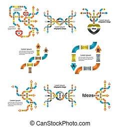 セット, ビジネス, backgrounds.infographic, infographic, デザイン, テンプレート, template.powerpoint, プレゼンテーション, element.