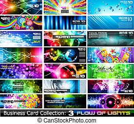 セット, ビジネス, collection-, 3, 抽象的, カード