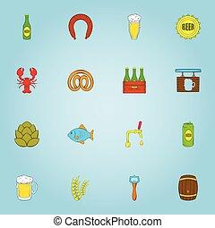 セット, ビール, アイコン, スタイル, 漫画