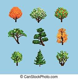 セット, ピクセル, 木