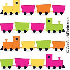 セット, ピンク, カラフルである, ), (, 隔離された, オレンジ, 緑, 列車, 白