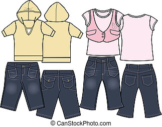 セット, ファッション, 子供