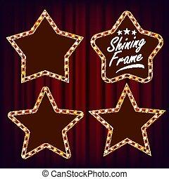セット, フレーム, ネオン, style., frame., 型, ランプ, 白熱, レトロ, vector., 電気である, 3d, 星, 照らされた, サーカス, イラスト, billboard., 輝き, カジノ, light., カーニバル, 現実的