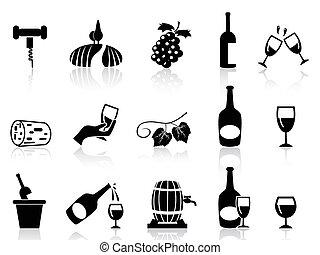 セット, ブドウブドウ酒, アイコン