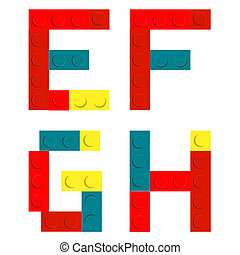 セット, ブロック, アルファベット, 隔離された, 建設, iso, おもちゃの煉瓦, 作られた