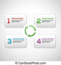 セット, プロセス, 矢, boxes., numbers., テンプレート, infographics, 3d