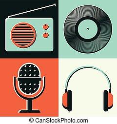 セット, ヘッドホン, イラスト, ベクトル, ラジオ, ビニール, アイコン, マイクロフォン