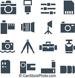 セット, ベクトル, アイコン, 写真, accessories.