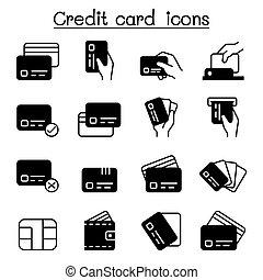 セット, ベクトル, イラスト, 借方, グラフィック, クレジット, 支払い, アイコン, カード, デザイン, 買い物