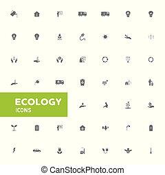 セット, ベクトル, エコロジー, アイコン