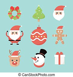 セット, ベクトル, クリスマス, アイコン